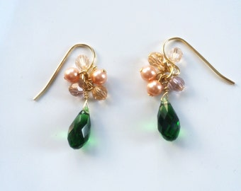 Emerald swarovski with rose pink earrings