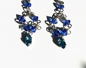 Swarovski sapphire and aquamarine earrings