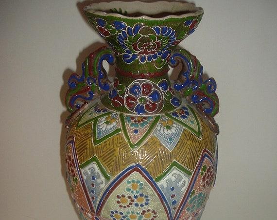 Japanese Satsuma Moriage Tall Vase