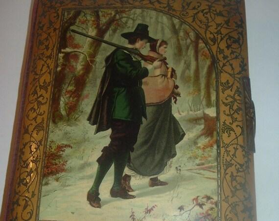 Antique Photo Album Lady Man Pilgrim Cover