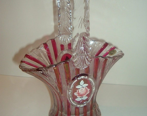 Westmoreland Handpainted Artist Signed Ruby Stain and Clear Glass Basket 1978