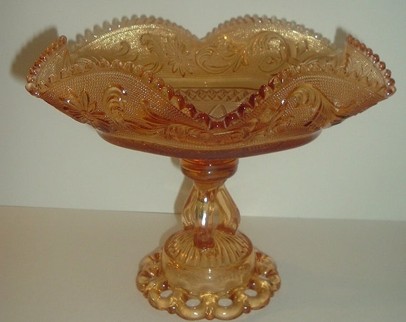 Westmoreland Glass Princess Feather Centerpiece Bowl Golden Sunset Doric Base