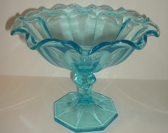 Westmoreland Glass Icy Blue Large Centerpiece Bowl or Compote