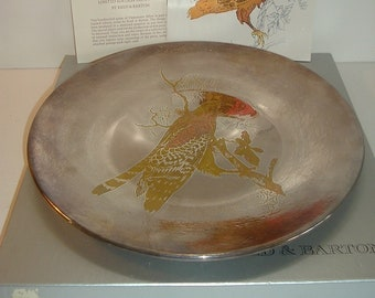 Reed and Barton Audubon Red Shouldered Hawk Damascene Silverware Plate w Box