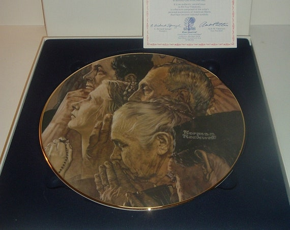 Norman Rockwell Freedom of Worship Plate w/ Box and COA 1982 Four Freedoms