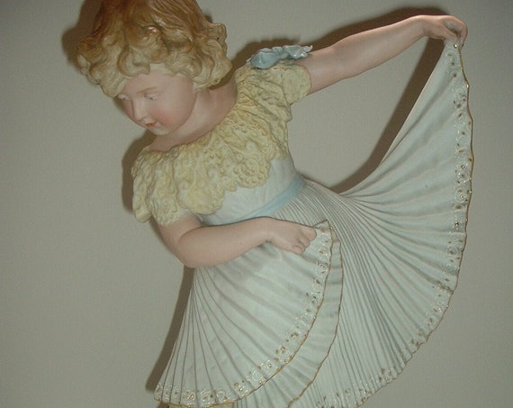 """Antique German Bisque 15"""" Dancing Girl with Dress and Ballet Shoes"""
