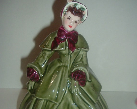 Florence Ceramics Abigal in Green Gown Lady Figurine
