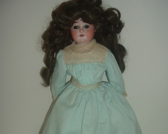 "Antique Doll Alma 10/0 Bisque Head with Leather Body 15""H"