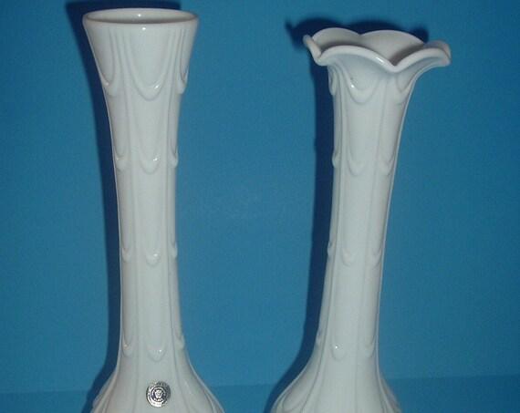 2 Westmoreland Glass Drapery Pattern Vases