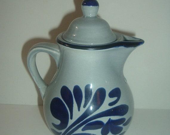 Boch Belgium Grau Blau Teapot Tea Pot