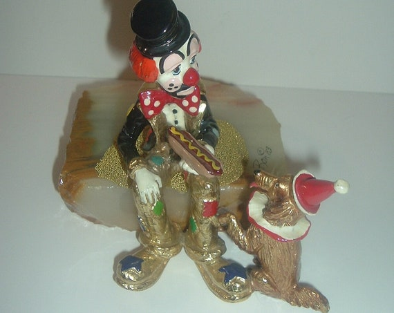 Ron Lee Hobo Clown With Dog and Hotdog 1983 Signed Figurine