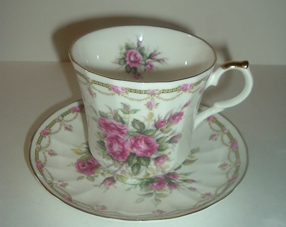 Allyn Nelson Collection England Cup and Saucer Bone China Pink Roses