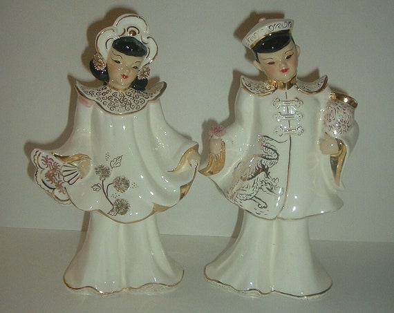 Florence Ceramics Asian Couple Man Lady in White
