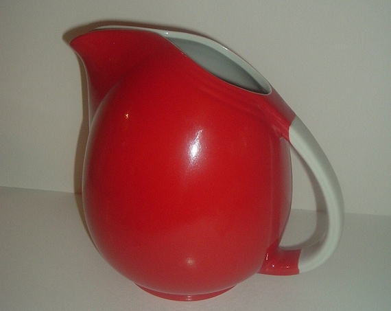 Hall China USA Red w White Handle Big Pert Pitcher or Jug Superior Quality Kitchenware Vintage