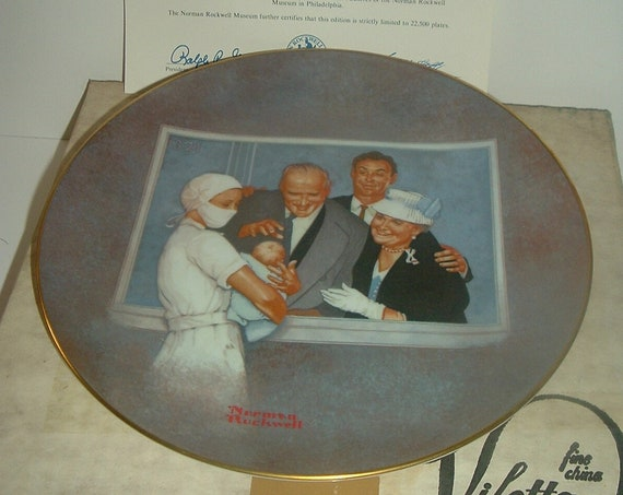 Norman Rockwell New Arrival American Family 1980 Plate w/ Box & COA