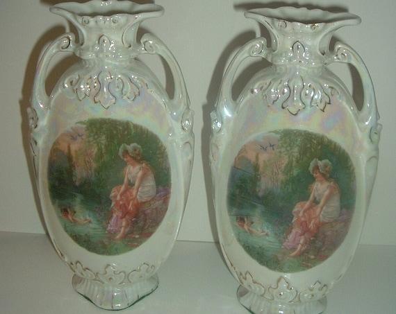 Pair Victoria Czechoslovakia Portrait Vases Antique