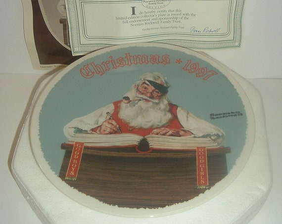 Norman Rockwell For Good Boys and Girls Christmas Plate 1997 Box & COA