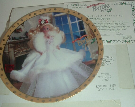 Barbie Enesco Happy Holidays 1989 Commemorative Plate with Box COA