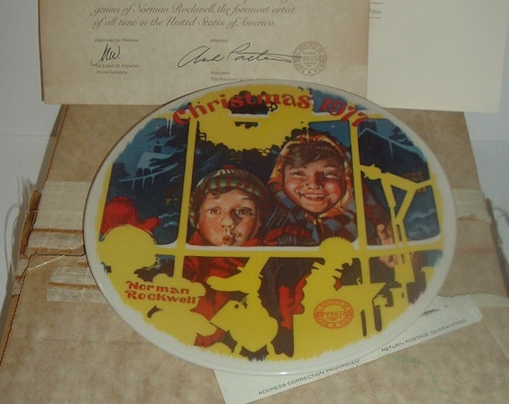 Norman Rockwell Toy Shop Window Christmas 1977 Plate w/ Box & COA