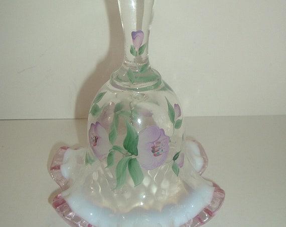 Fenton Glass Handpainted Flowers Opalescent Pink Crest Artist Signed Bell