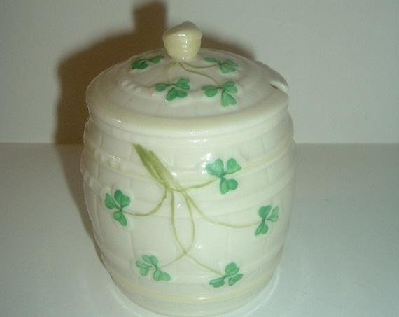 Belleek Green Mark Marmalade Jar