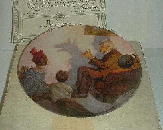 Norman Rockwell Shadow Artist Plate Heritage Collection 1987 w/ Box & COA