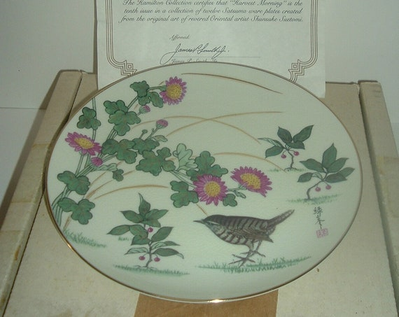 Gardens of the Orient Satsuma Collection Harvest Morning Plate w/ Box & COA