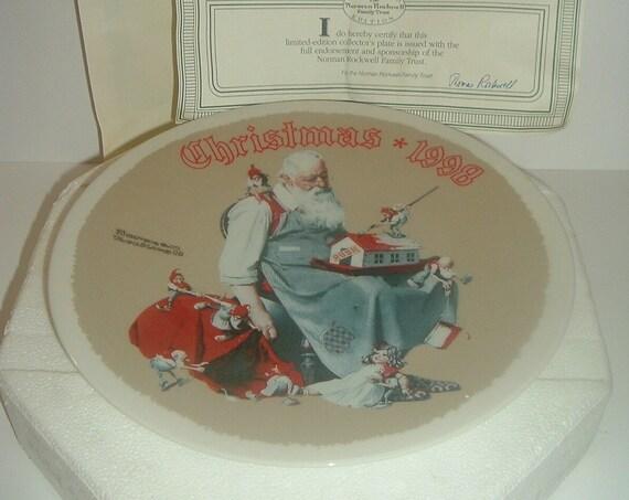 Norman Rockwell Santa's Helpers Christmas Plate 1998 Box & COA