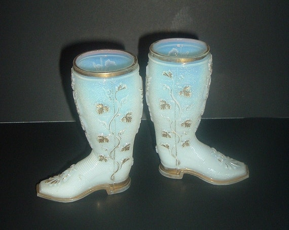 2 White Glass Victorian Boots Gold Vines
