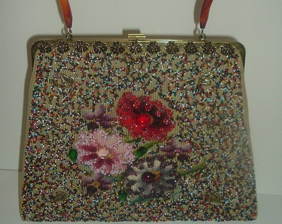Soure New York Handbag Purse Needlework Beads Lucite Handle Vintage