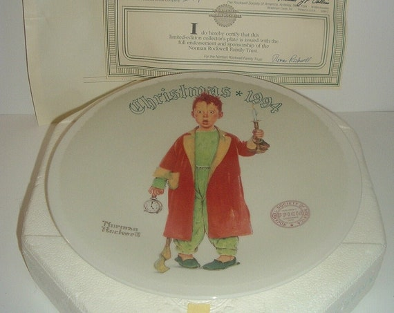 Norman Rockwell Christmas Marvel Plate 1994 Box & COA