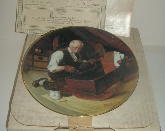 Norman Rockwell Grandpa's Gift Plate Golden Moments Collection 1987 w/ Box & COA