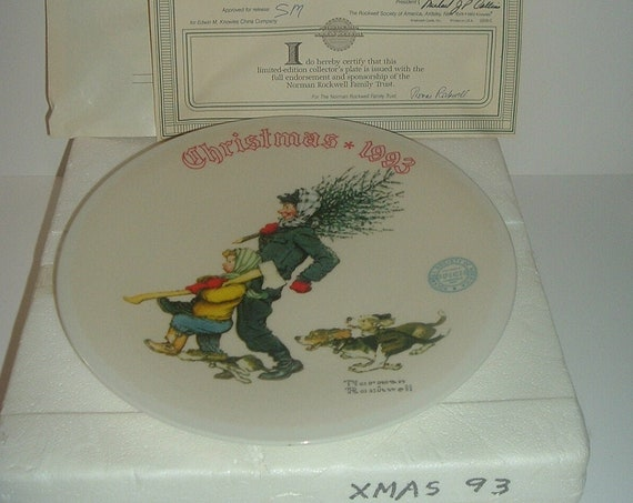Norman Rockwell The Tree Brigade Christmas Plate 1993 Box & COA