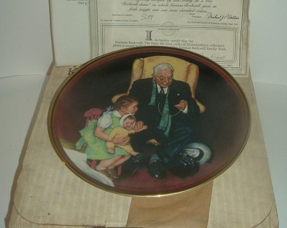 Edwin Knowles Norman Rockwell Tender Loving Care Ones We Love plate COA box