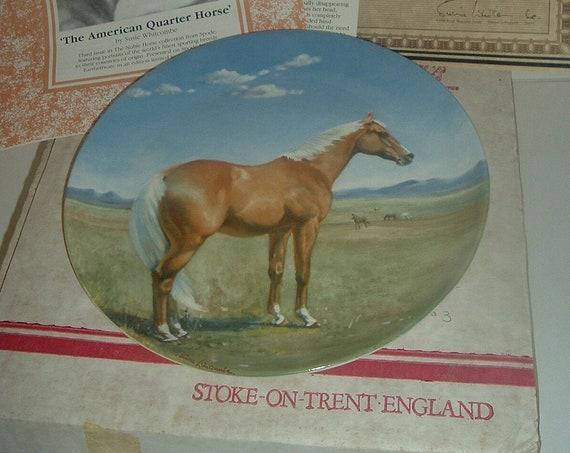 Spode American Quarterhorse Noble Horse Plate w Box COA 1988