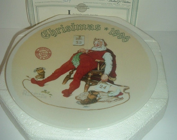 Norman Rockwell To All A Good Night Santa Christmas Plate 1996 Box & COA