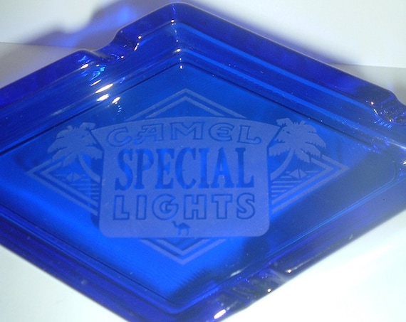 Cobalt Glass Camel Special Lights Ashtray