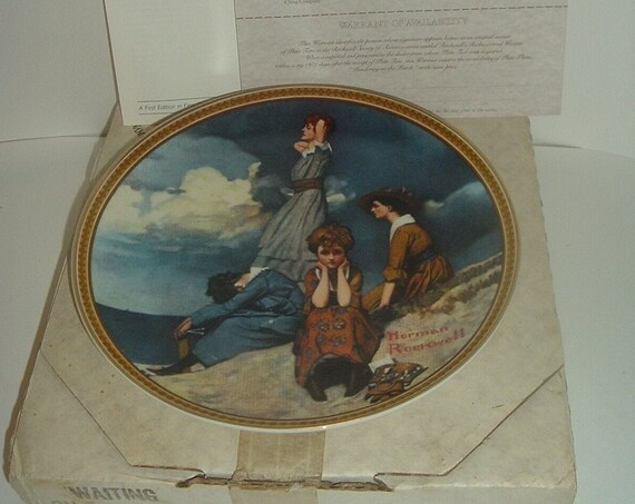 Edwin Knowles Norman Rockwell Waiting On The Shore Rediscovered Women plate with box COA