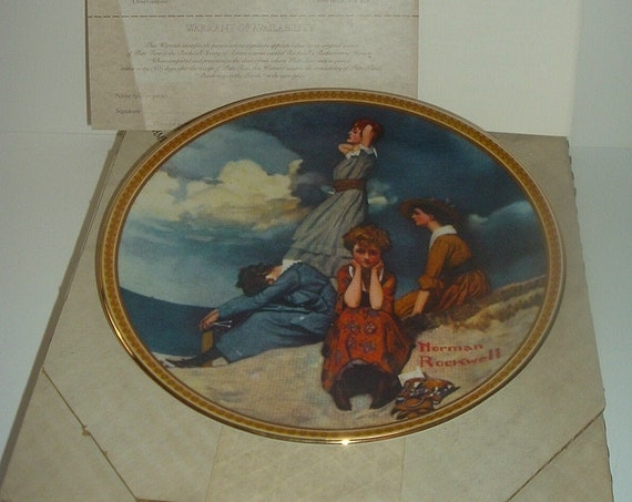 Norman Rockwell Waiting On The Shore Plate Rediscovered Women 1981 w/ Box & COA