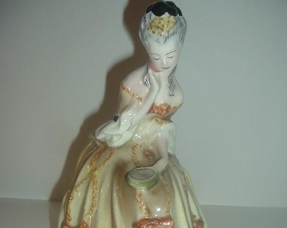 Goldscheider Seated Victorian Lady Looking in Mirror Figurine