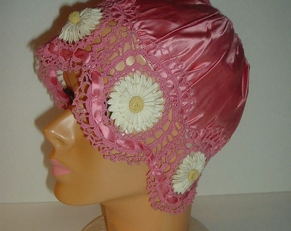 Vintage Rose Satin and Crocheted Daisy Ladys Night Cap Free 1st Class US shipping