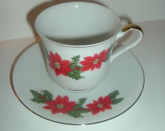 Lefton Poinsettia Cup & Saucer