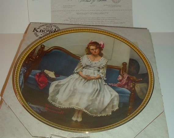 1982 Norman Rockwell Waiting at the Dance Plate w/ Box & COA