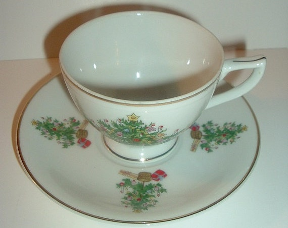 Lefton Christmas Tree Cup & Saucer