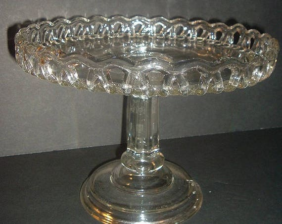 Lace Edge Cakestand Glass Vintage EAPG