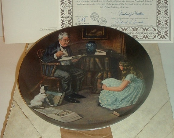 1983 Knowles Norman Rockwell The Storyteller Plate w/ COA and Box
