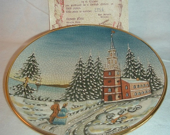 1976 Veneto Flair Christmas Card Series LE Plate w/ COA