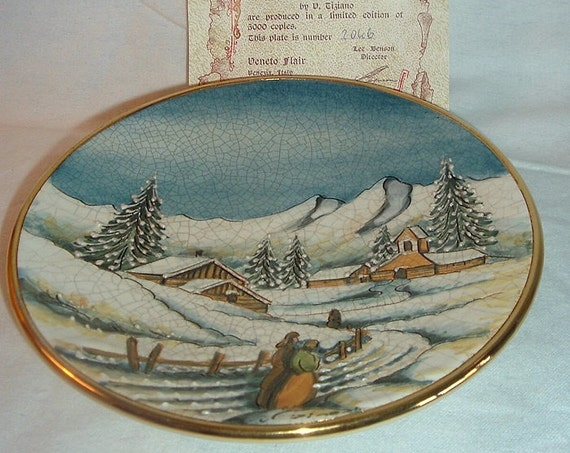1977 Veneto Flair Christmas Card Series LE Plate w/ COA