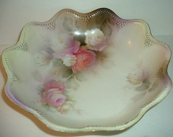 RS Prussia Red and Green Mark Rose Floral Bowl