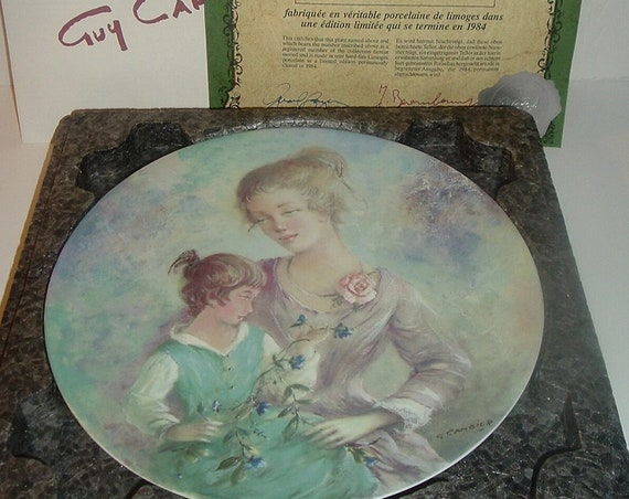 1980's Henri Darceau Limoges Marie et Jacqueline by Guy Cambier Plate w Box and COA